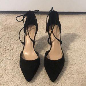 Tahari | Black Tie Strap Heels | Size 8 1/2